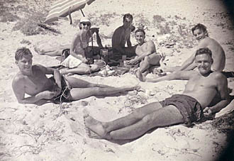 Officers relaxing on the beach