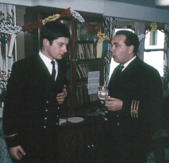 Two officers in the ship's bar