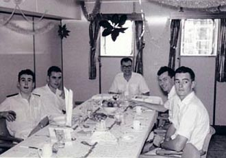 Christmas 1962. Officers in the saloon