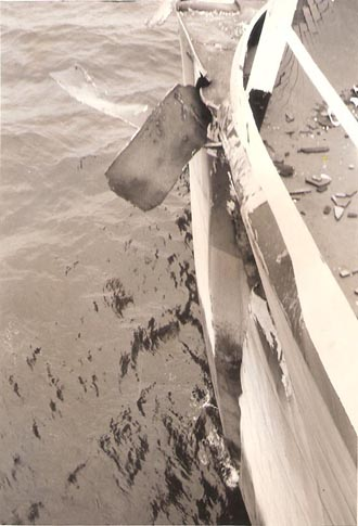 Damage seen from the deck