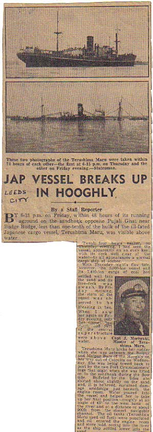 Newspaper cutting of sinking