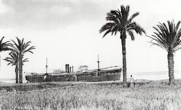 View of ship from ashore