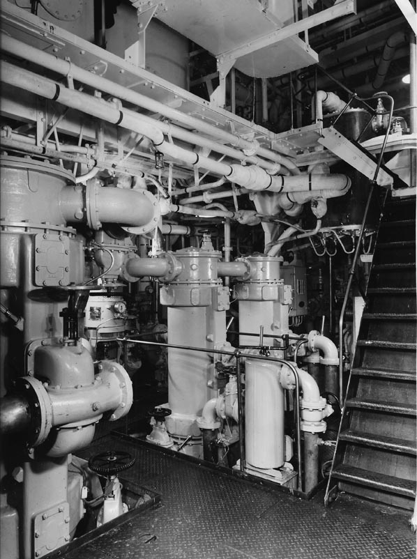 View of oil and water coolers